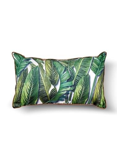 The Mia Tropik Yastık - Banana Palm Beyaz  50 x 30cm Renkli